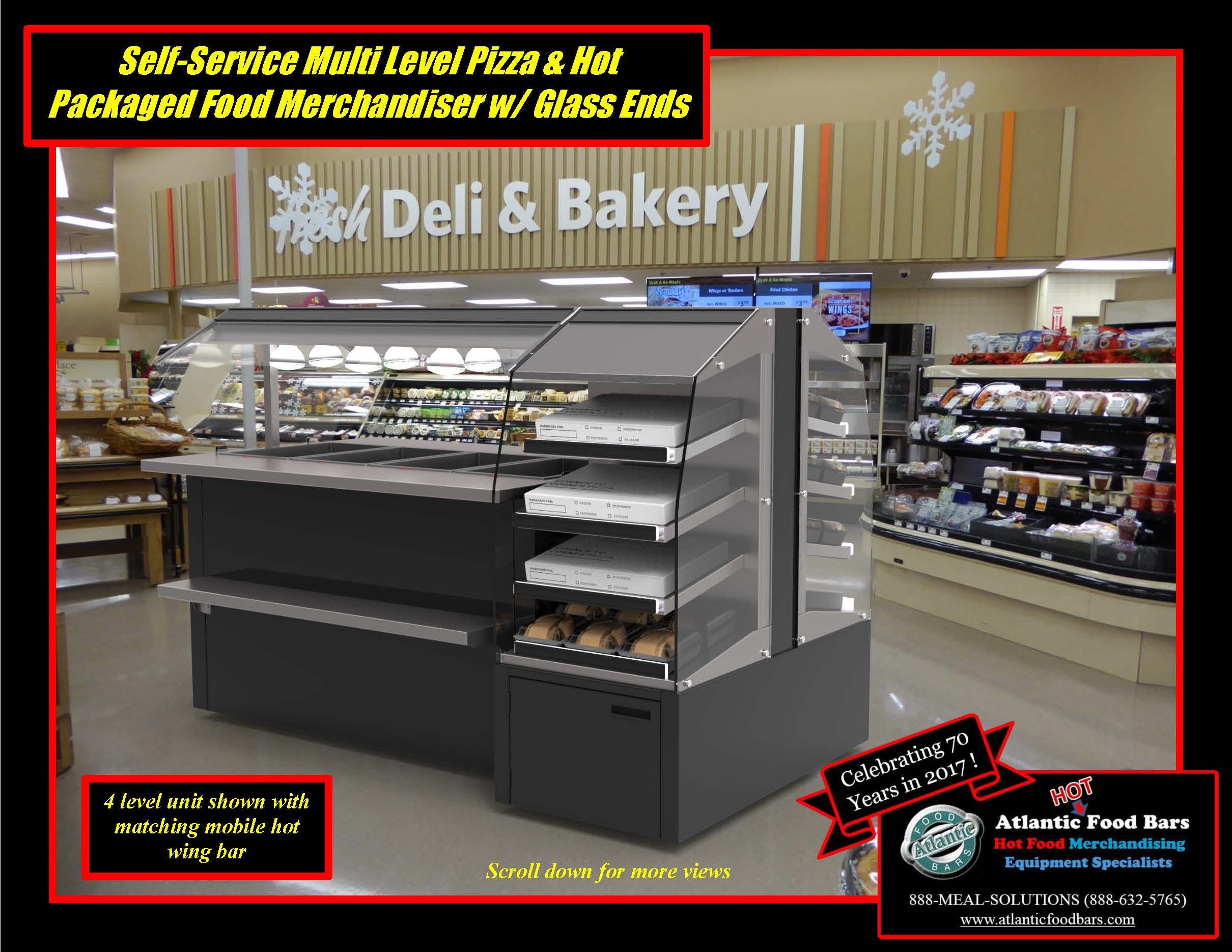 Atlantic Food Bars - Self-Service Multi Level Pizza & Hot Packaged Food Merchandiser with Glass Ends