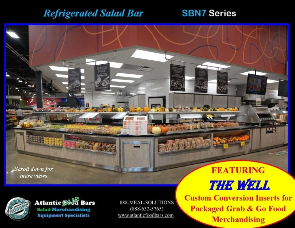 Atlantic Food Bars - Effectively and Temporarily Convert Your Salad Bar to Grab & Go Packaged Food Merchandising with The Well - Shown on In-Line Refrigerated Salad Bar - SB13839N7_Page_1