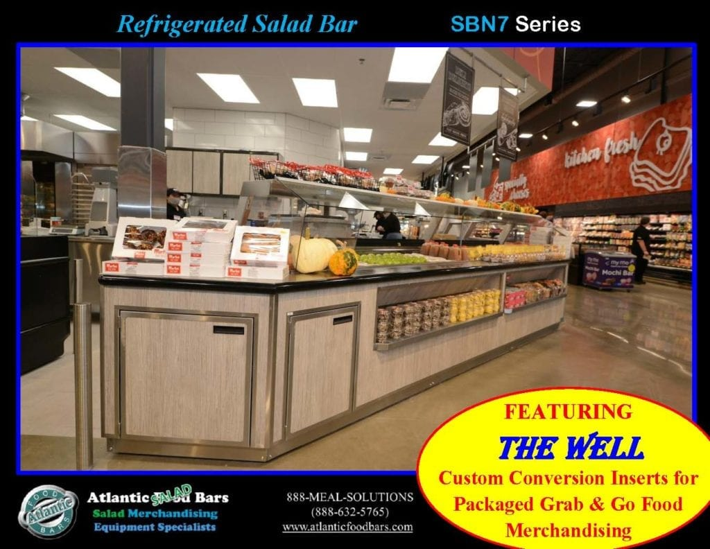 Atlantic Food Bars - Effectively and Temporarily Convert Your Salad Bar to Grab & Go Packaged Food Merchandising with The Well - Shown on In-Line Refrigerated Salad Bar - SB13839N7_Page_5