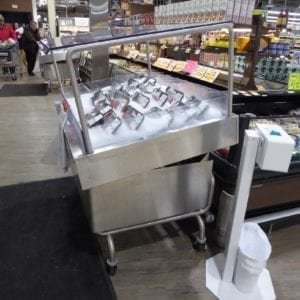 Mobile Iced Seafood Display Case with Canopy - transforMerchandiser - Atlantic Food Bars - MIT4836-SSKT-CKT-WSKT 2