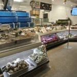 Custom Angled Ice-Only Non-Refrigerated Seafood Case with Front Grab and Go Bunkers - Atlantic Food Bars - FSM-KK 2