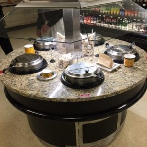 Island Round Soup Bar with Floating Glass Sneezeguard and LED Lighting - Atlantic Food Bars - SWIR6060-LED-S 1