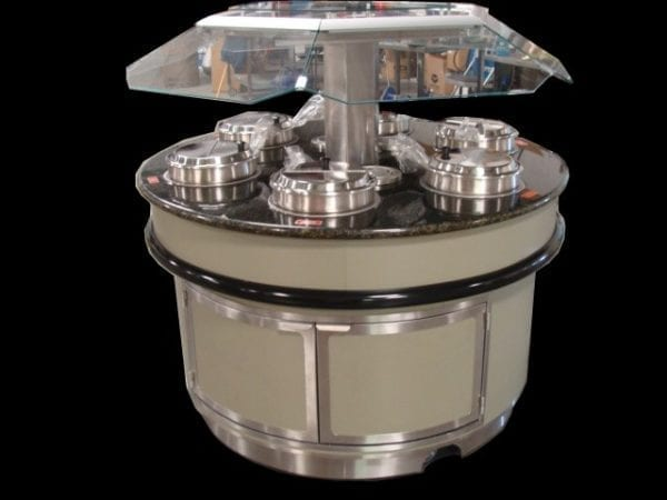 Island Round Soup Bar with Floating Glass Sneezeguard and LED Lighting - Atlantic Food Bars - SWIR6060-LED-S 2