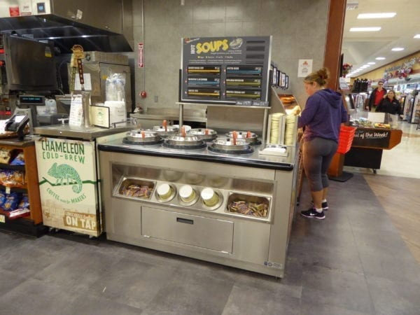 Low Profile Hot Grab & Go Chicken Merchandiser with 6-Well Soup Station WRGCL9637 SW6030 6