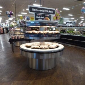 Round Hot Rotisserie Chicken Grab and Go Merchandiser - Two Levels - Atlantic Food Bars - RHP6060T 1