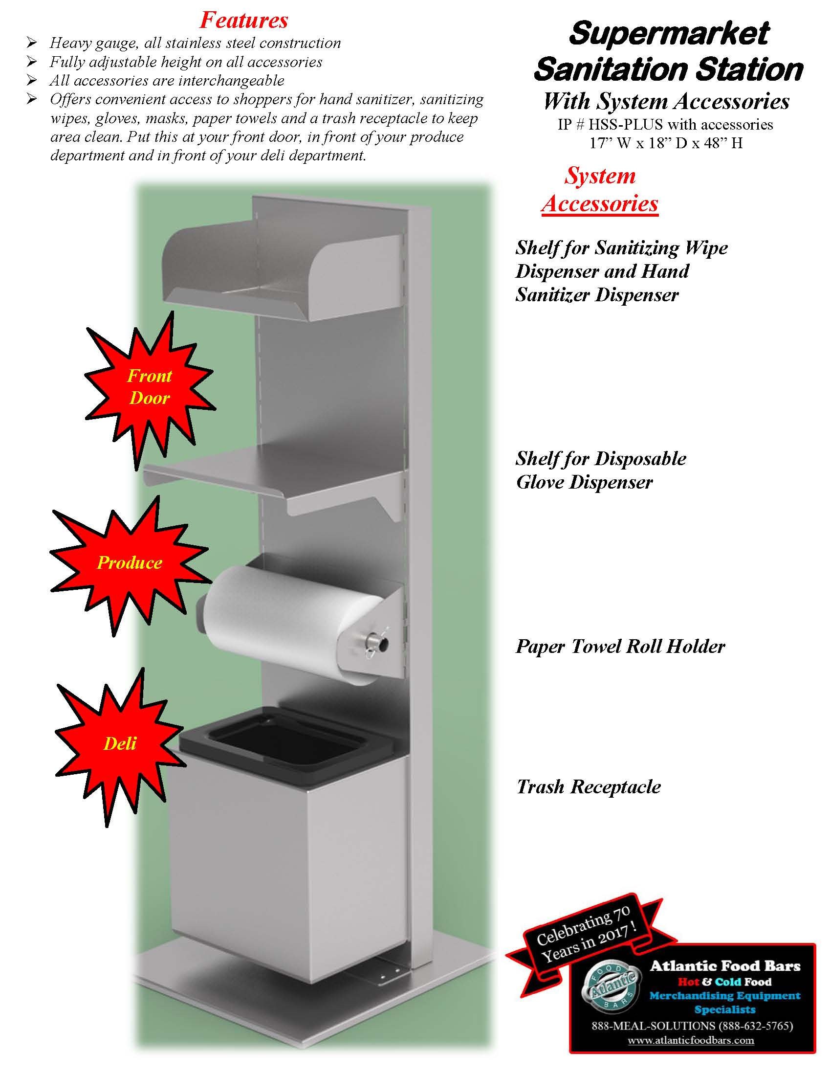 Atlantic Food Bars - Supermarket Sanitation Station - HSS-Plus with Accessories cut sheet 6-10-20_Page_2