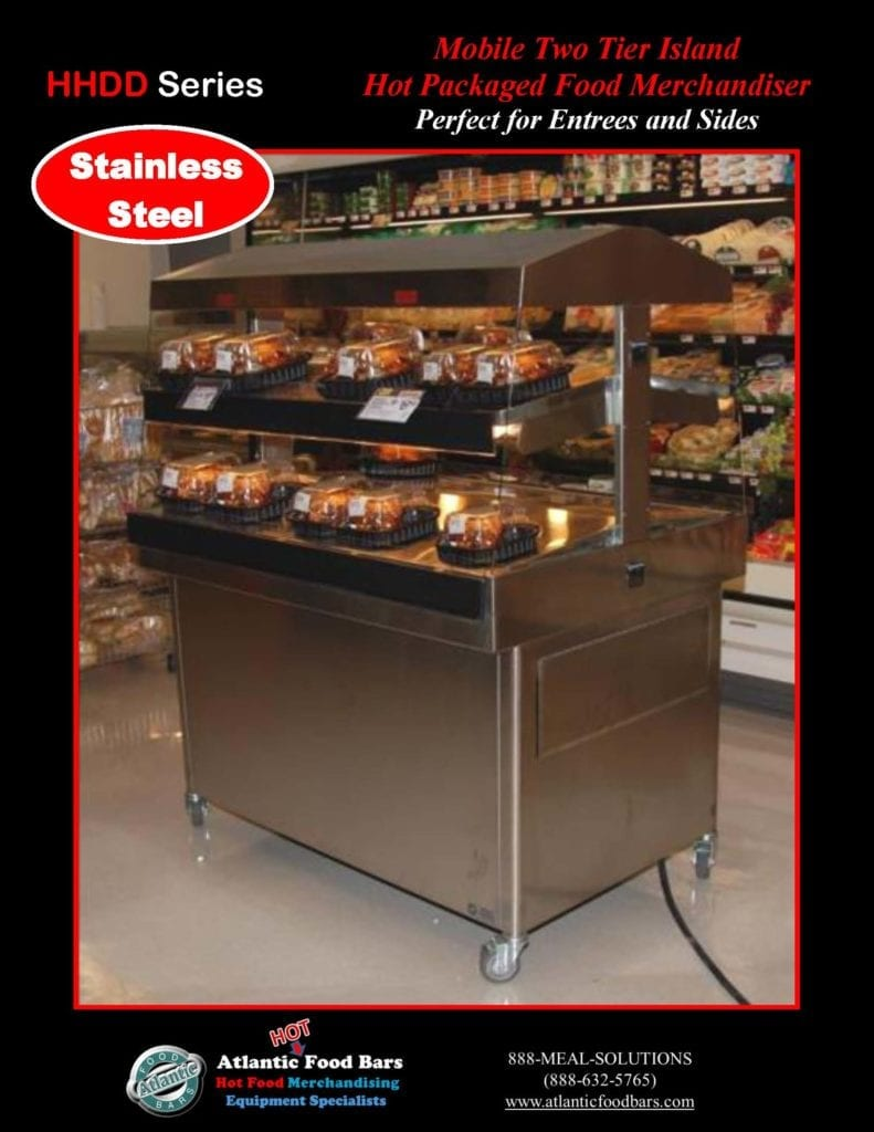 Atlantic Food Bars - Stainless Steel or Powder Coated Hot Food Merchandiser - Mobile 2-Tier Fresh, Hot BBQ Display Case for Grab & Go Sales - HHDD5136_Page_2